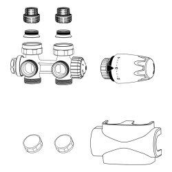 TA Heimeier Design-Edition Multilux 4 Set für Zweirohrsystem weiß RAL 9016, 9690-27.000