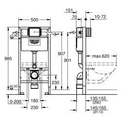GROHE WC Element Rapid, BH 1,00m mit Spülkasten 6-9l 38525001