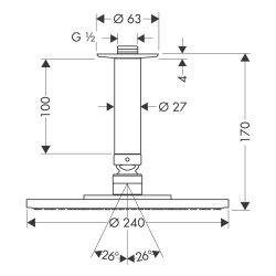 Hansgrohe Tellerkopfbrause Raindance Air 240mm für Deckenmontage chrom 27477000