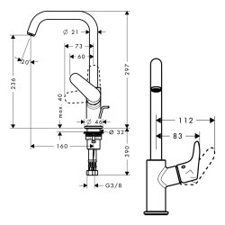 Hansgrohe Waschtischmischer 240 Focus chrom 31609000