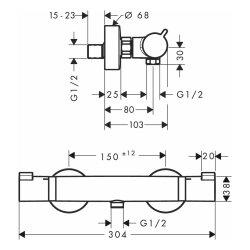 Hansgrohe Thermostat Ecostat Comfort Brausenmischer Aufputz DN15 chrom 13116000
