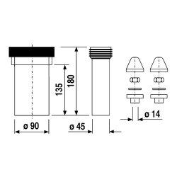 Sanit WC-Anschlussgarnitur 180mm DN90 weiß,...