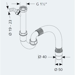 """Kunststoff Röhrengeruchverschluss 1 1/2"""" x..."""
