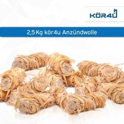 kör4u Premium Anzündwolle für Kamin, Ofen, Grill 2,5kg